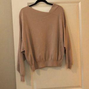 FP blush sweater w/ asymmetric neckline
